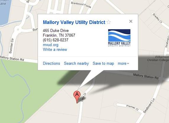 Mallory Valley Utility District Google Places Listing